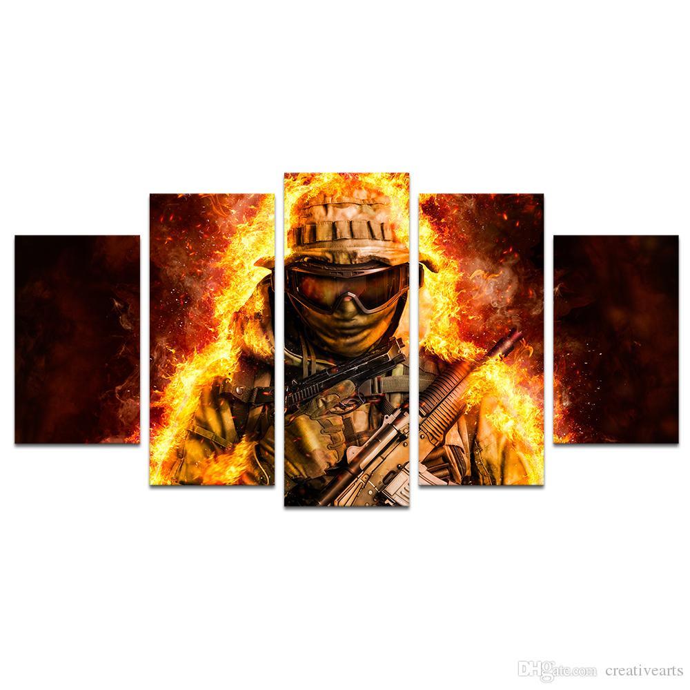 Großhandel Kein Rahmen 5 Stück Hd Leinwand Spezielle Kraft Feuer