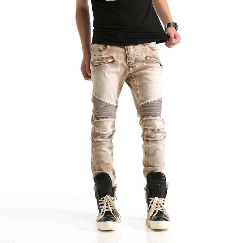 2019 High Street Fashion Men Jeans Top Quality Punk Style Hip Hop