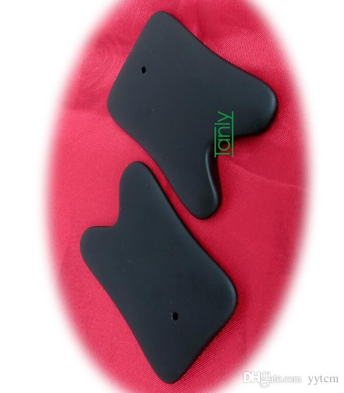 Высокое качество! Оптовая традиционный акупунктурный массаж гуаша красоты инструмент натуральный черный Bian-камень U-образный