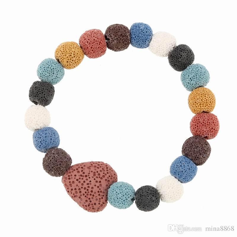 Meninas Moda Colorido Pulseira De Pedra Vulcânica Artesanal Cura Equilíbrio Pedra Natural Yoga Boho star pulseira da forma do coração