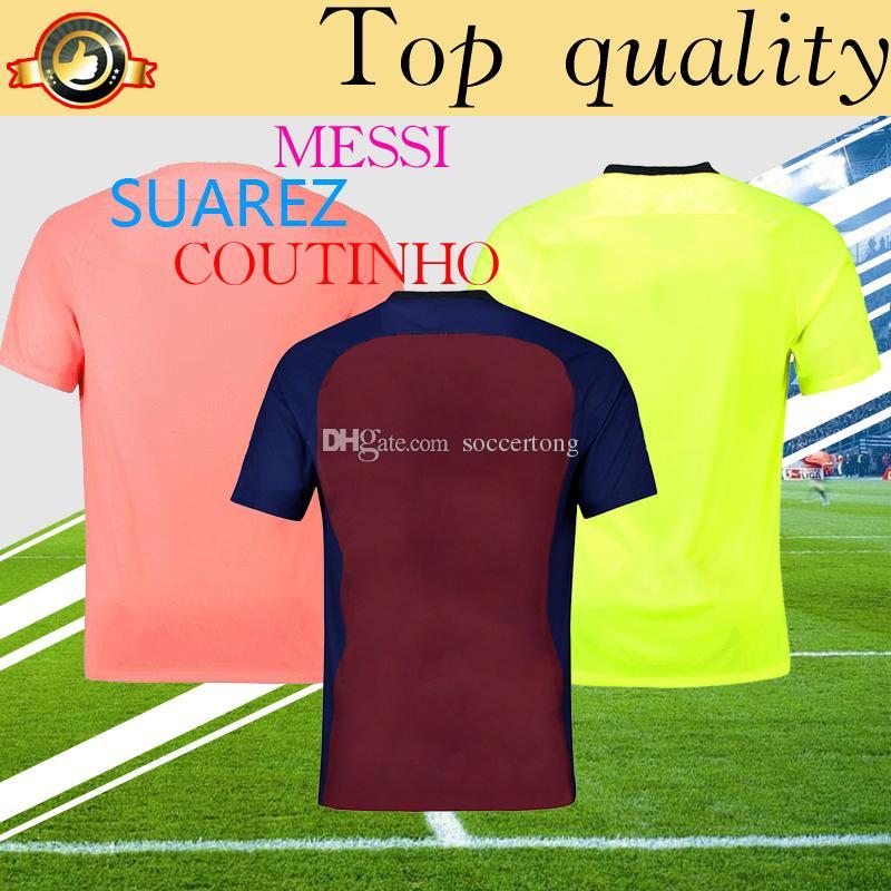 Camisa De Fútbol De Calidad Superior De Barcelona 2019 Messi Soccer Home 18  19 Personalizada Uniforme De Fútbol De O.DEMBELE SUAREZ COUTINHO Por  Soccertong 92c126095f6