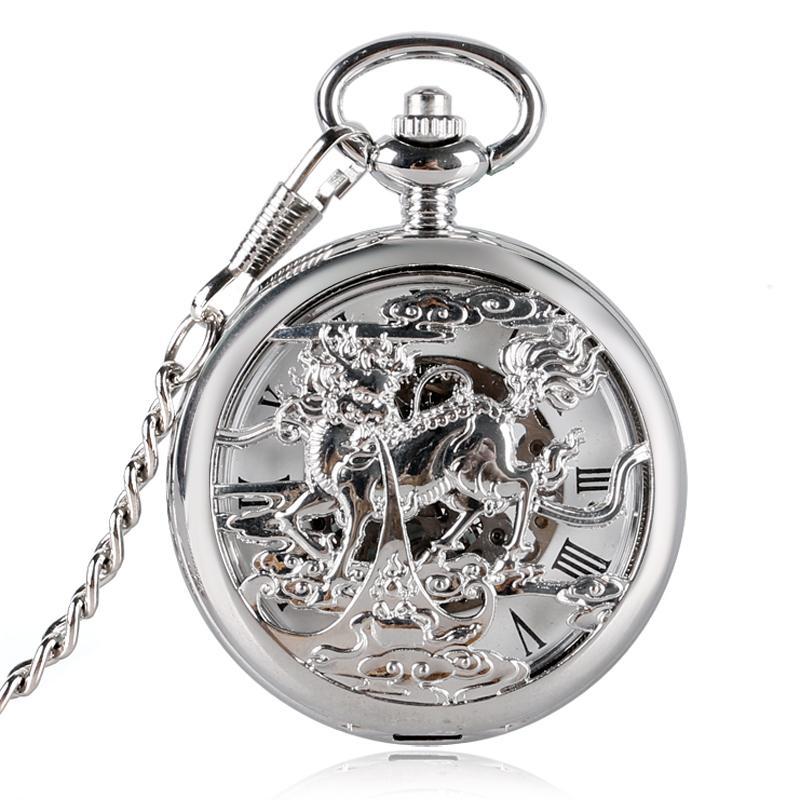 1af202145893 Compre Reloj Hombres Moda Chino Kirin Hueco Plata Número Romano Mano Viento  Mecánico Reloj Bolsillo Con Chian Relojes De Bolsillo A  16.95 Del Etimer  ...