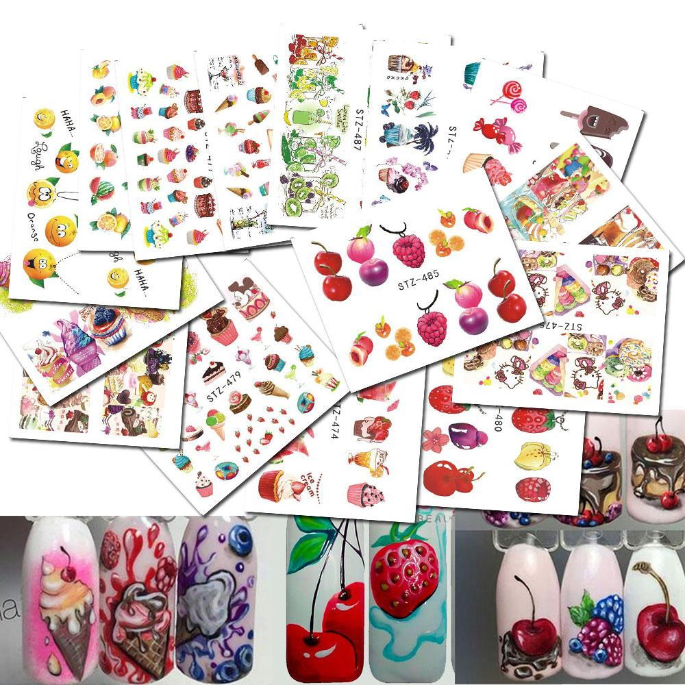 18 Sheets Mixed Water Decals Nail Art Water Transfer Stickers Fruit ...