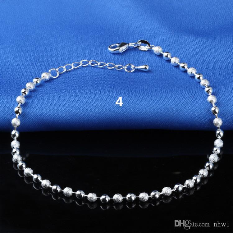 Tobilleras de plata esterlina 925 de la venta caliente para las cuentas simples de las mujeres Cadena de plata tobillera joyería del pie del tobillo