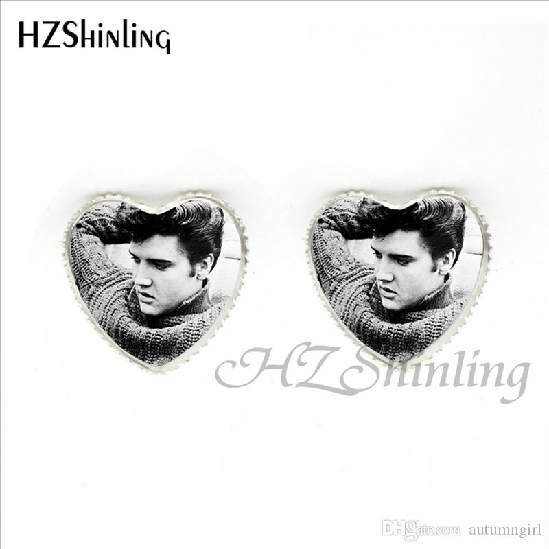 HER-0016 New Design Elvis Presley Heart Earrings Elvis Presley Jewelry Rock Star Glass Dome Heart Stud Earrings Wholesale