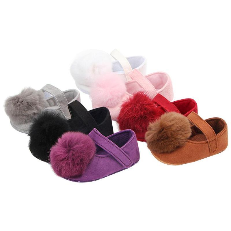 0-18M Toddler Baby Girl Soft Plush Princess Shoes Solid Infant Girls Cute Pompon Anti Slip First Walkers Shoes for girl Gift