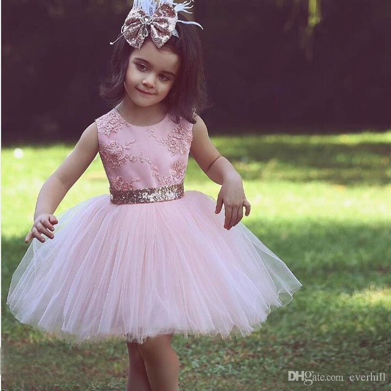 JaneVini 2018 Pink Short Ball Gown Flower Girl Dresses For Country Garden Weddings Said Mhamad Tulle Knee Length Bow Girls Pageant Dresses