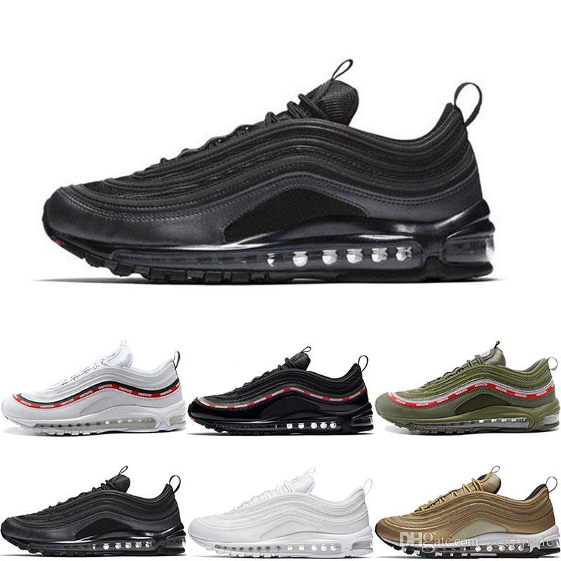 more photos 54384 9111d Acheter Meilleure Qualité Nike Air Max 97 OG QS Tripel Noir Blanc Métallisé  Or Argent Balle Blanc 3 M Premium Chaussures De Course Pour Hommes Femmes  ...