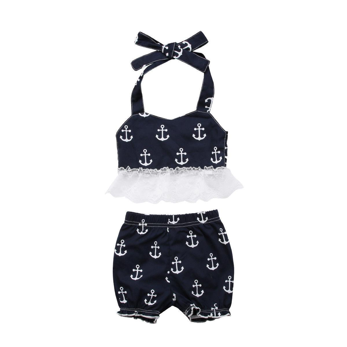 371e47f9d640 2019 Summer Toddler Baby Girls Anchor Lace Sleeveless T Shirt Shorts ...