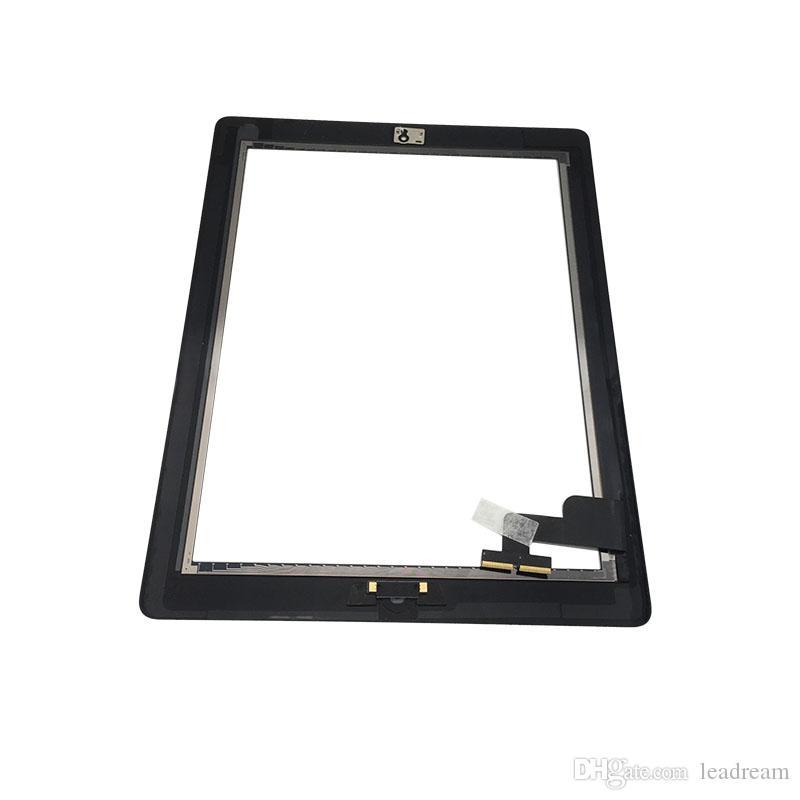 Сенсорный экран стеклянная панель дигитайзер для iPad 2 с главная кнопка клей Ассамблеи Бесплатная доставка