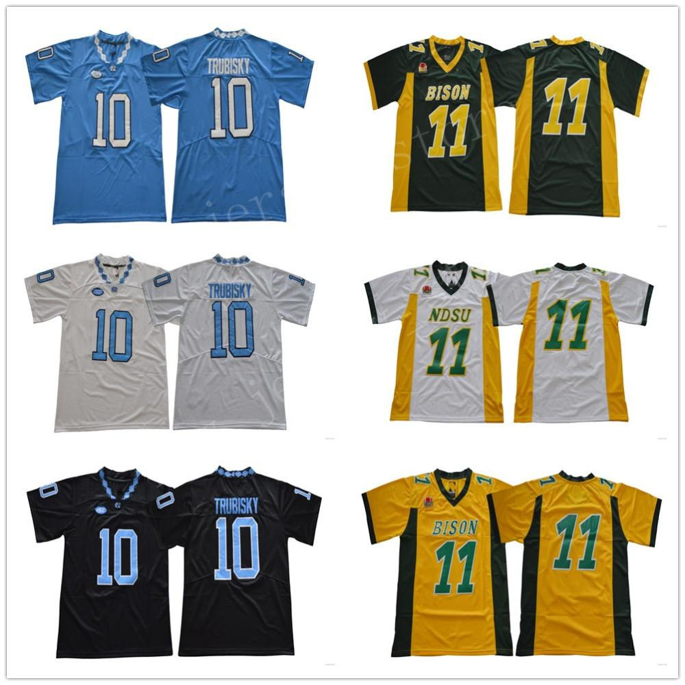 new arrival ee2be 4d35f NDSU Bison College 11 Carson Wentz Jersey Men North Carolina Tar Heels  Football 10 Mitchell Trubisky Jerseys UNC Black Blue White Green