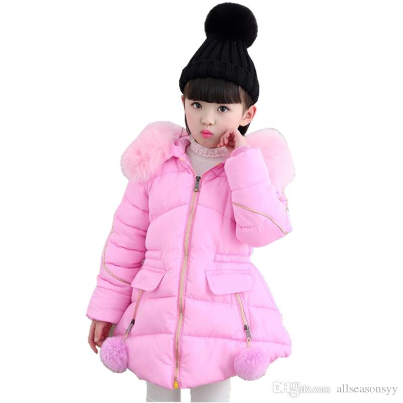 ccdfd89fef1a Warm Baby Teenager Winter Jacket For Girls Fur Hooded Kids Girls ...