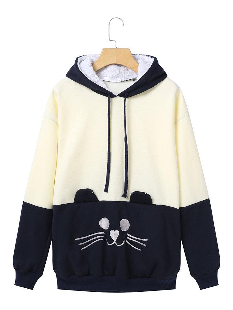 3cf925a5f4d 2019 2018 Women Sweatshirts Cute Cat Print Cat Ear Kawaii Hoodies Casual  Long Sleeve Pullovers Cat Hoodies With Pocket Dropship CY47 From  Clothesg519