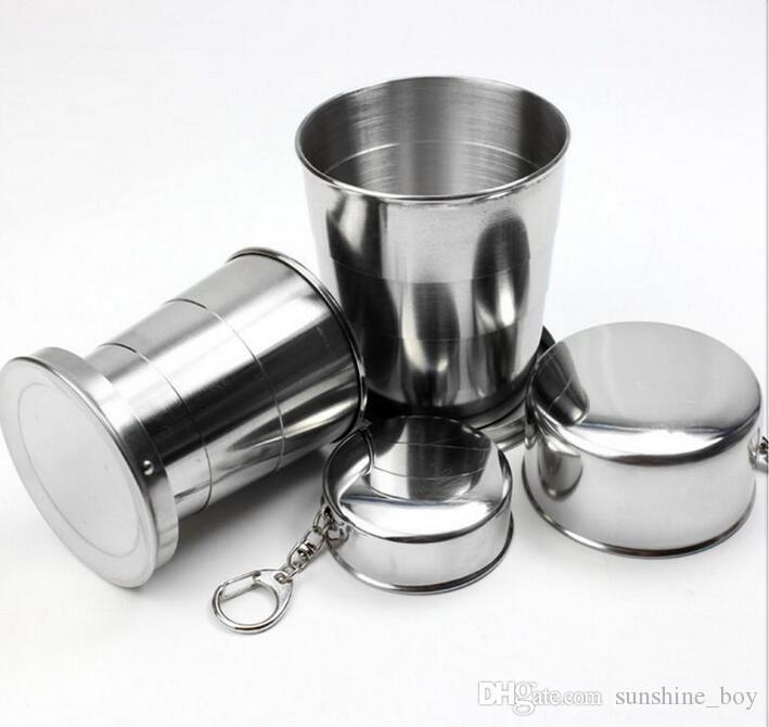 Comercio al por mayor 75 ml 140 ml 240 ml de acero inoxidable portátil de viaje al aire libre que acampa plegable plegable taza metal llavero telescópico