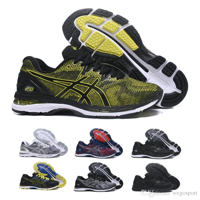 Compre 2019 Asics GEL Nimbus 20 Homens Amortecimento Running Shoes  Qualidade Superior Online Preto Azul Esporte Sapatilhas Sapatos De Grife  Formadores 7 11 ... dcce0be30506f