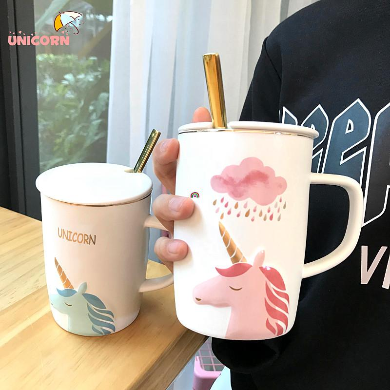 Ins Cute Unicorn Cups Cartoon Coffee Milk Cup Ceramic Kids Water ...