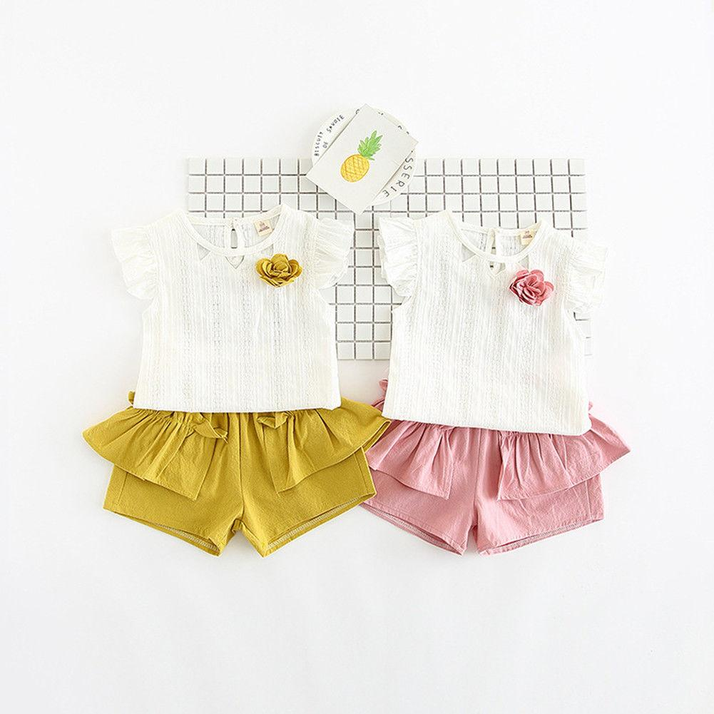 b7f0836d0 2019 Baby Girl Clothes Summer Baby Girls Flower Top Short Pants Set Kids Summer  Clothes Outfits 2 8T From Askkit, $37.57 | DHgate.Com