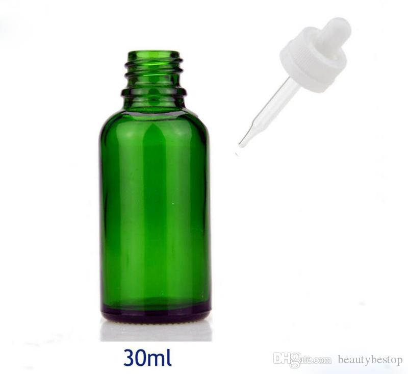 USA Market round 30ml green glass dropper bottles oil bottles 30 ml with childproof caps for cosmetic