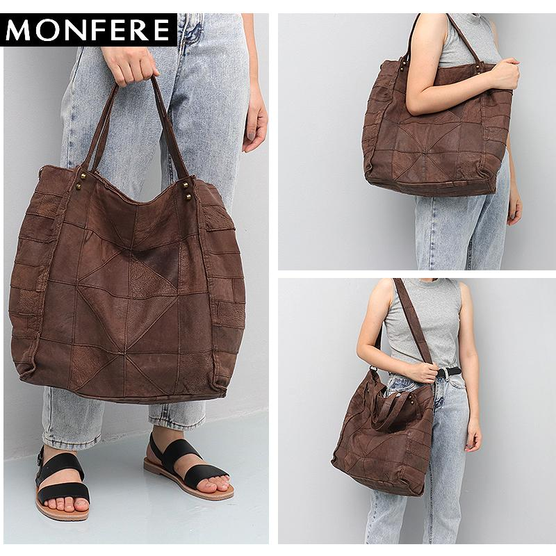 fd58494864 MONFERE Vintage Leather Women Big Tote Bags Real Leather Messenger Shoulder  Bags Female Large Quilted Woman Bag Genuine Italian Leather Handbags Luxury  ...