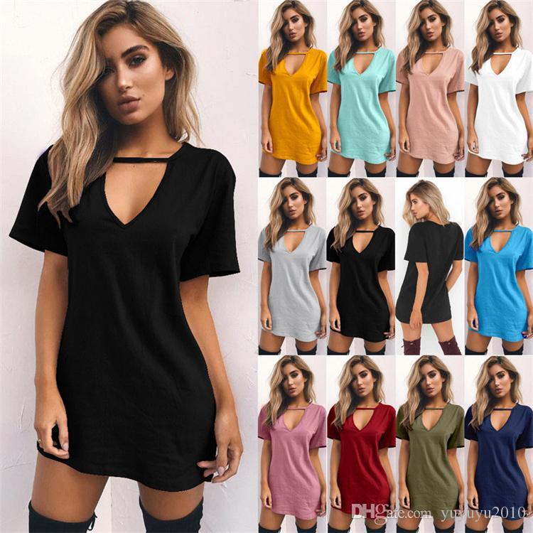 c1b656976c V Neck Halter Women Summer Dress Cotton Short Sleeve Casual Black Cool  Short Mini Dress Loose Party Beach Dresses 180326 Black Womens Dresses  Party And ...