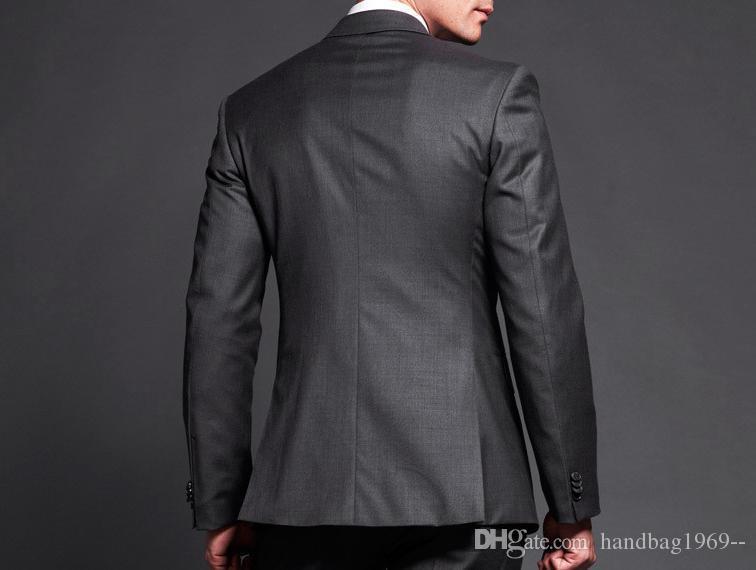 Yüksek Kalite Iki Düğme Koyu Gri Damat Smokin Groomsmen Notch Yaka Best Man Blazer Erkek Düğün Takımları Ceket + Pantolon + Kravat H: 829