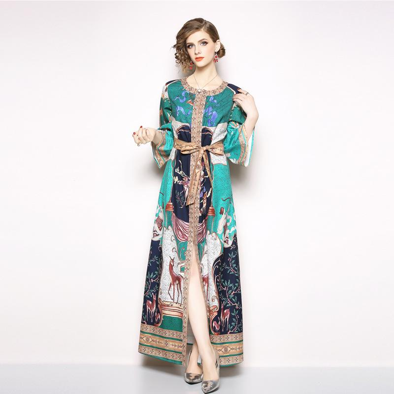 4eb14cbced1 Vintage Runway Dresses Flare Sleeve Slim High Split Women Tunic Dress with  Floral Print Maxi Dresses Vintage Casual Dresses Tunic Dress for Women  Party And ...