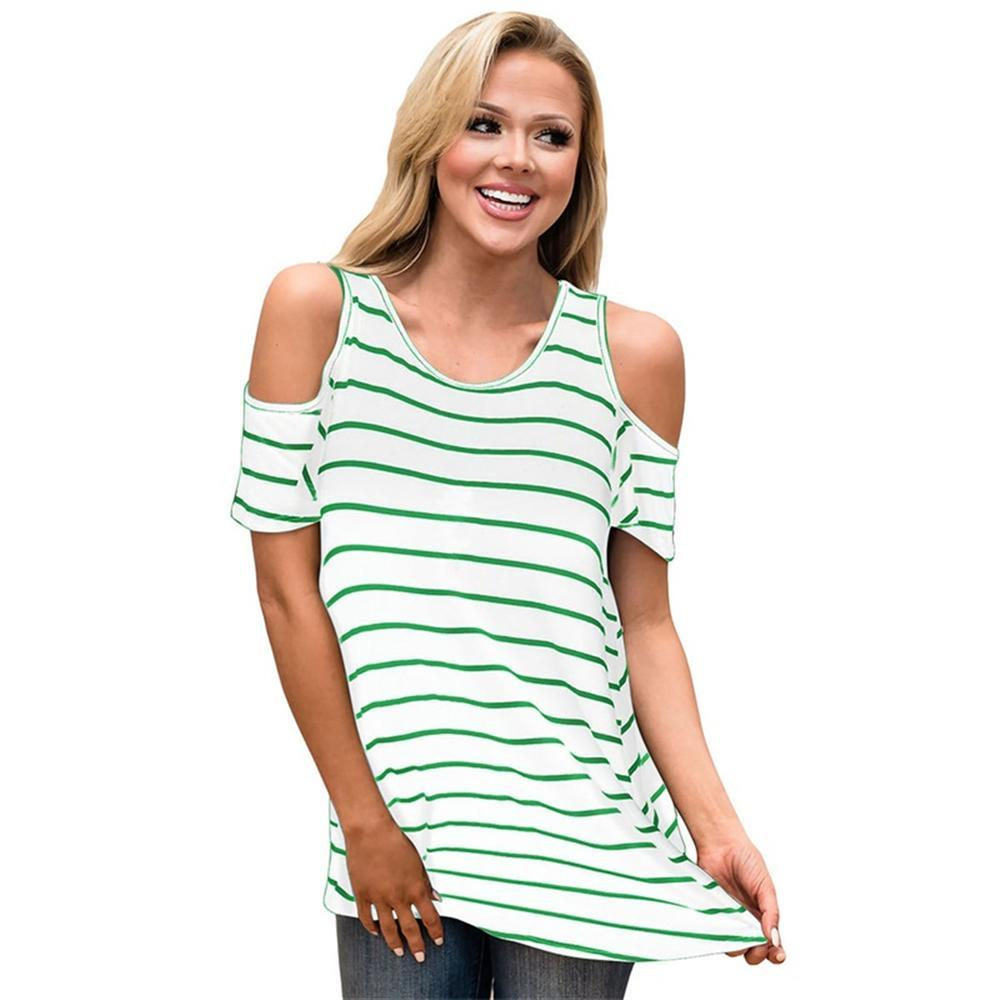 985ced30 2018 Summer Female Casual Loose Off Shoulder T Shirt Plus Size Sexy Striped  Short Sleeve Tops Womens European Style Tshirt Make Your Own T Shirts T  Shirt ...