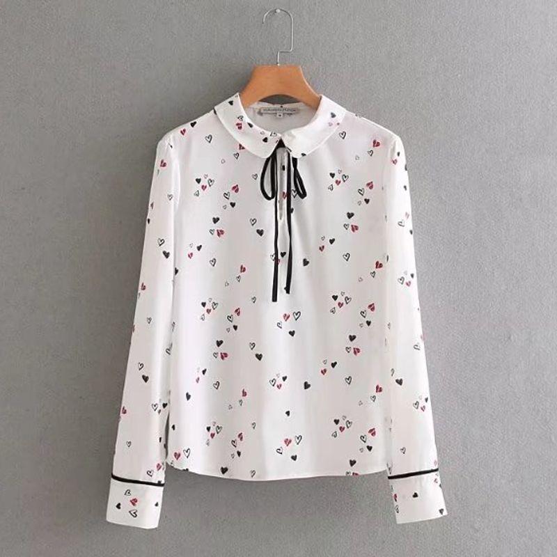 7fc696738833e1 2019 Women Vintage Vestidos Cute Peter Pan Collar Bow Casual Slim Blouse  Shirt Fashion Hearts Print Femininas Camisa Tops LS1767 From Cailey, ...