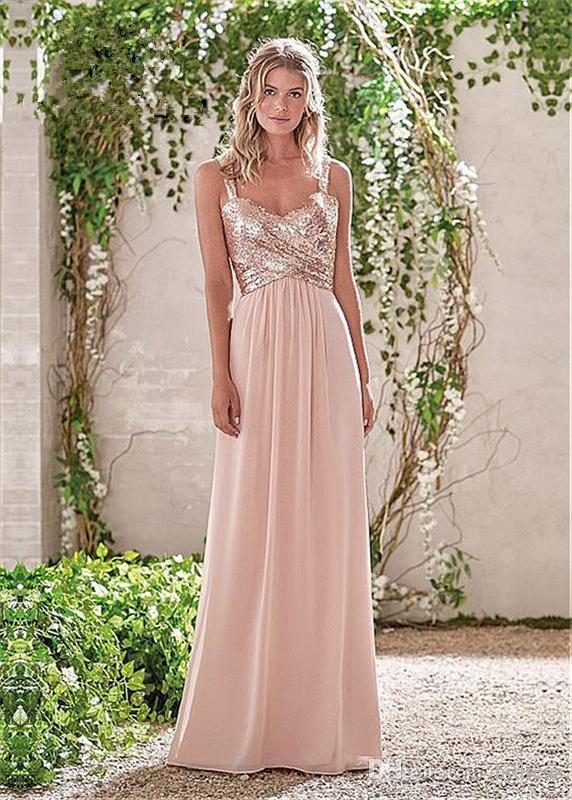 Nuevas lentejuelas brillantes Escote mixto Chiffon de flujo Vestidos de fiesta de graduación Vestidos largos de dama de honor Summer Rose Blush Dama de honor con volantes