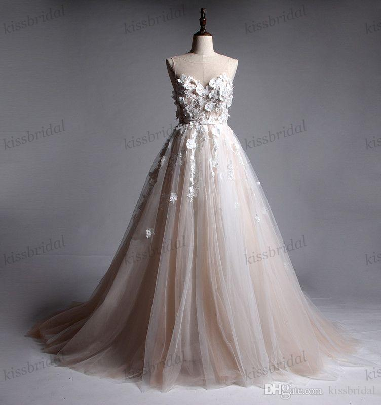 221097ea32e05 2018 Champagne Lace Wedding Dresses Real Photos 3D Lace Floral Bridal Gowns  A Line Sheer Jewel Neck Backless Summer Beach Boho Wedding Gowns