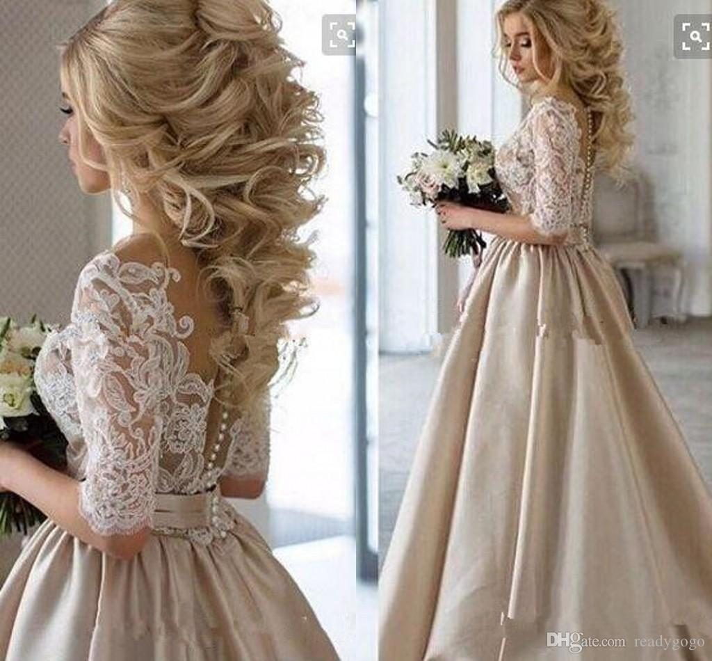 2018 Ange Etoiles Vintage Lace Stain Champagne Half Sleeve Prom Dresses Sheer Neck Covered Bottom Cheap Dubai Arabic Occasion evening Gown