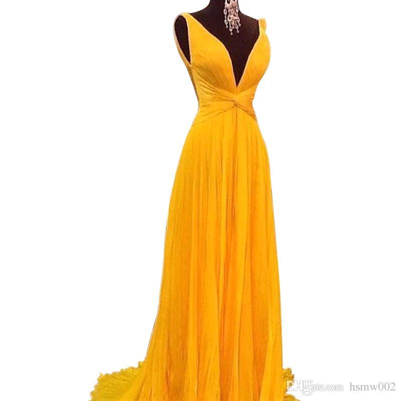 NEW Sexy Backless A Linha Prom Dresses 2018 Amarelo Vibrante Plissado Chiffon Longo Mulheres Vestido De Baile Vestido De Festa Personalizado Partido Vestidos de Desgaste