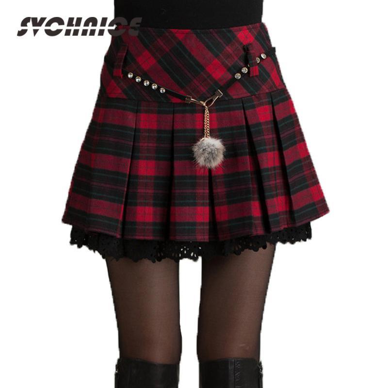 34046b8f98 Compre Moda Otoño Invierno Falda Mujeres 2018 Primavera Colegiala Sexy  Corto Gris   Rojo Falda Plisada Mini Faldas De Cuadros Faldas Mujeres Saia  S916 A ...