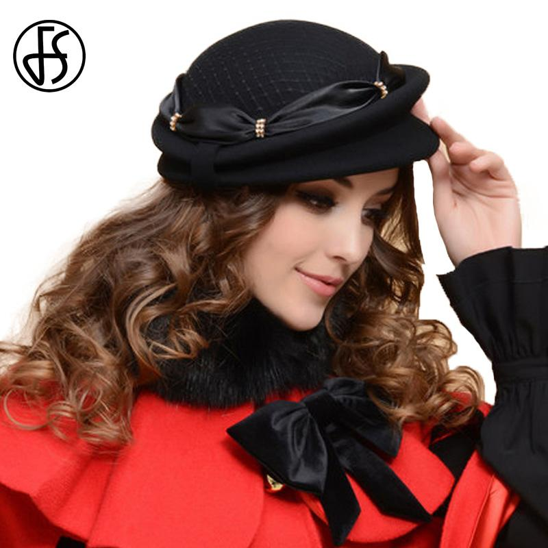 FS Female Winter Black Beret Hat For Women French Wool Felt Hats Bowknot  With Mesh Gauze Party Sombrero Vintage Mujer UK 2019 From Fotiaoqia 08aaf3526505