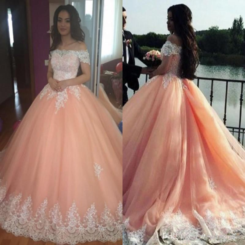 Blush Pink Sweet 16 Quinceanera Dresses Ball Gown Off Shoulder Lace ...