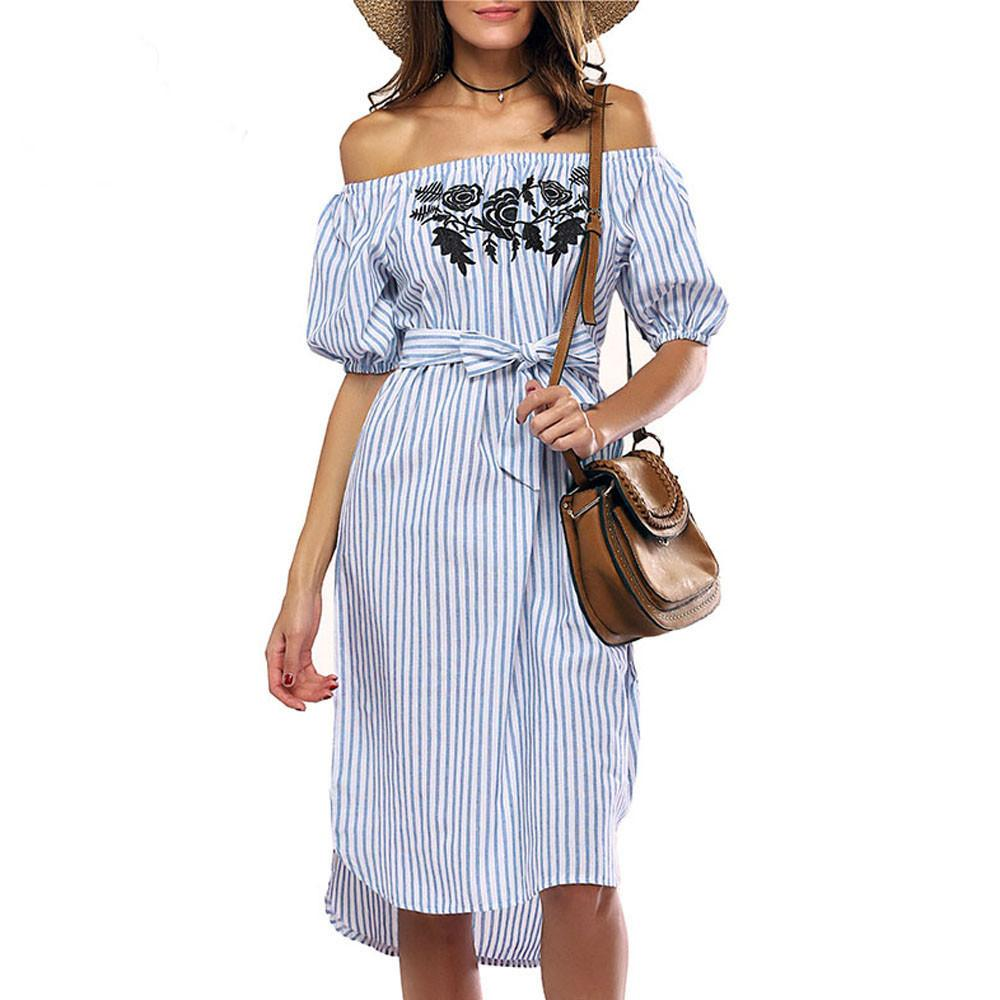 d925db438a56 Korean Style Women Off Shoulder Dress Short Sleeve Slash Neck Striped  Casual Dress Dressing Gowns For Women Lovely Striped Dress Black Dresses  Sale Dressing ...