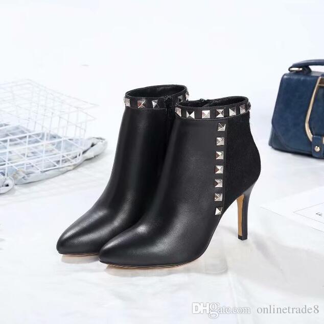 ade125b36b09 Fashion Branded Nieten Stiefeletten Frauen Spitzschuh Kurze Stiefel Sexy  Thin Heels Schuhe Kostenloser Versand