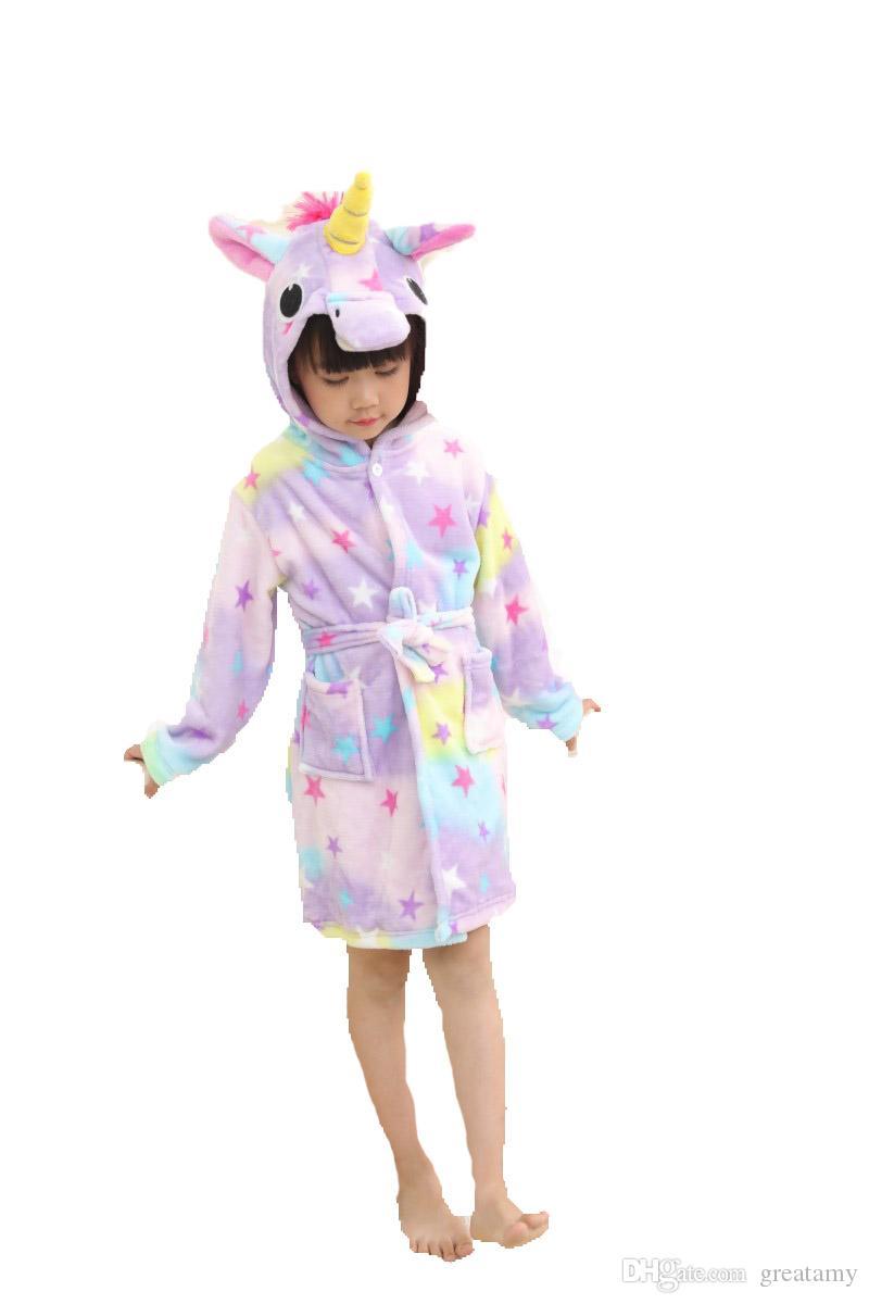 6b577c107be3 New Cute Unicorn Bathrobe Spring Autumn European And American Baby Girls  Sleepwear Home Pajamas Hooded Dress Boy And Girl Matching Christmas Pajamas  Cool ...