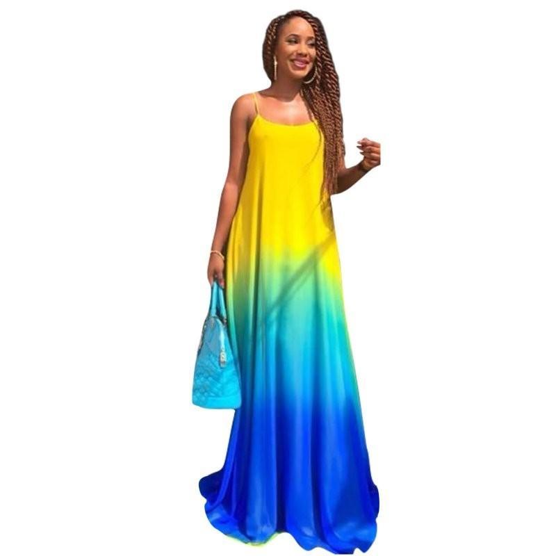 111833ef5d8f Large Size Gradient Vestidos Women Sundress Boho 2018 Summer Casual Chiffon Evening  Party Beach Long Maxi Dress Long Short Dress Cocktail Dresses Long From ...