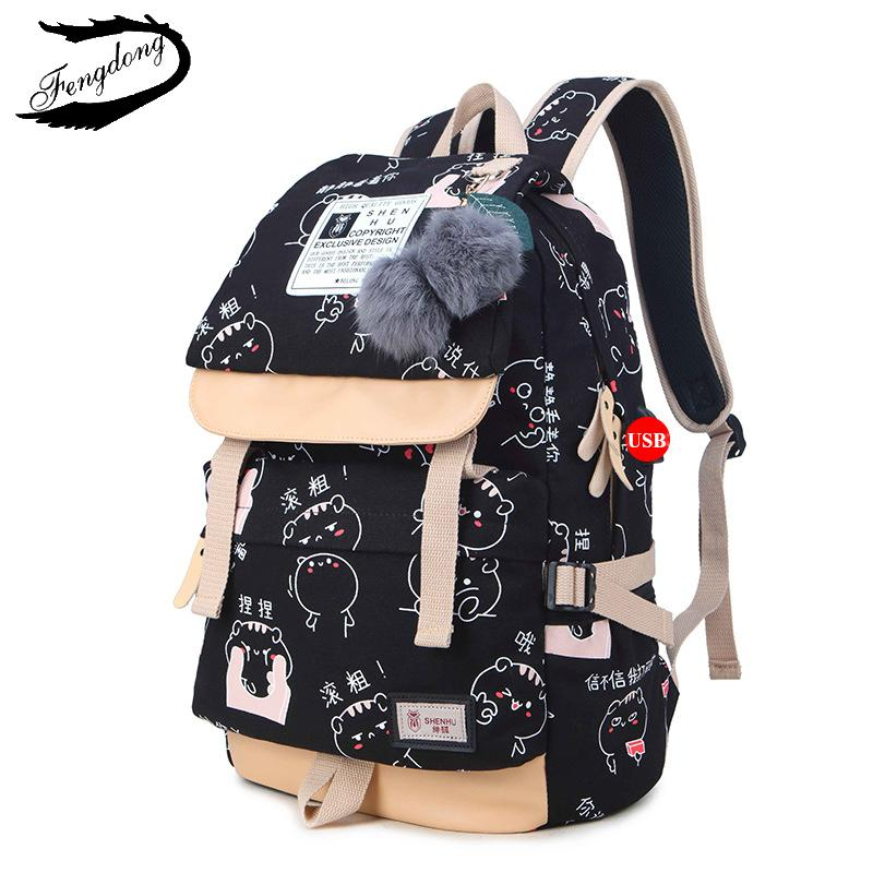 f0262b9e0f7f FengDong 2018 Cute Canvas Adolescent Girl Backpack Female Kawaii Travel Bag  Women Backpack Satchel Mochila Bagpack My Rucksack S914 Online with   41.89 Piece ...