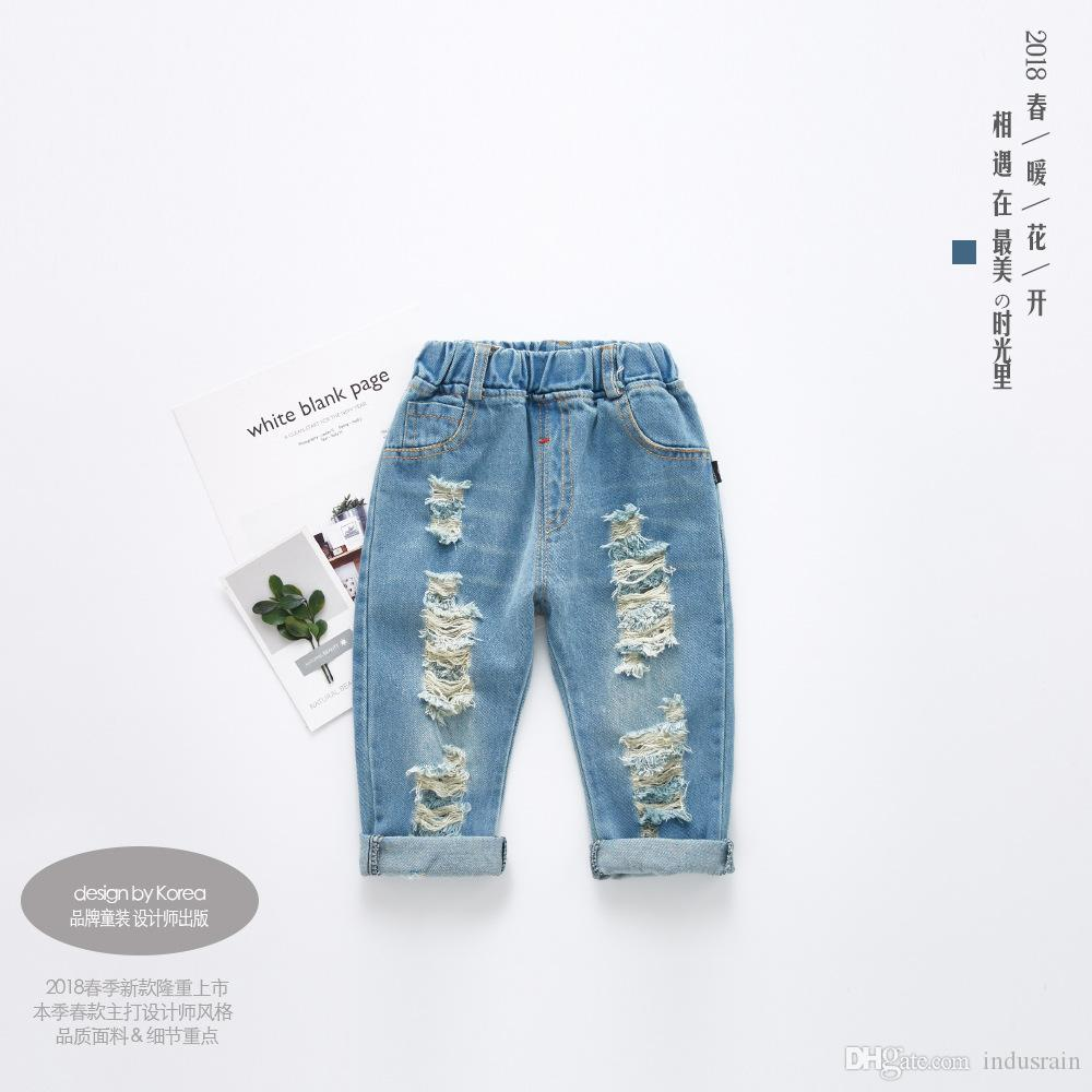 5f5b68423 Baby Boys Girl Ripped Jeans Spring Summer Fall Style 2019 Trend Denim  Trousers For Kids Children Distrressed Hole Pants Hot Sale Boys Size 12  Jeans White ...