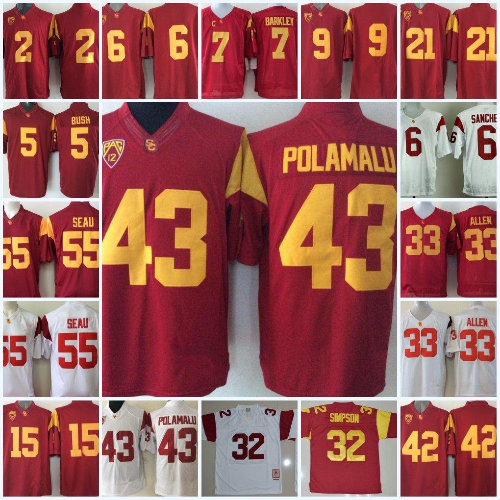 dae5a6789 online cheap mens usc trojans troy polamalu college football jerseys ronnie  lott marcus allen o.j. simpson