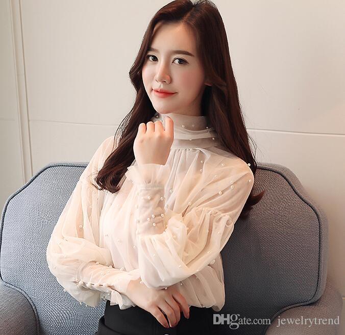 2018 Printemps Femmes Dentelle Blouse À Manches Longues Élégant Transparent Tops Lady Chemise Décontractée Blouses Gris Abricot C3246
