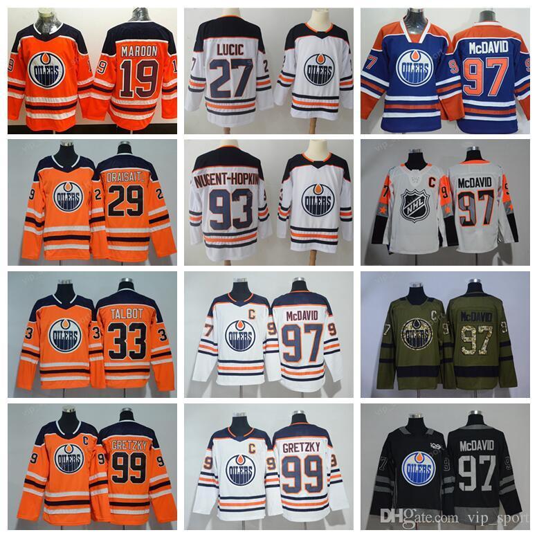 best website 7bfe8 6011f 2018 Ice Hockey Edmonton Oilers Jerseys Man 19 Patrick Maroon 29 Leon  Draisaitl Jersey 19 Patrick Maroon 33 Cam Talbot Ryan Nugent-Hopkins