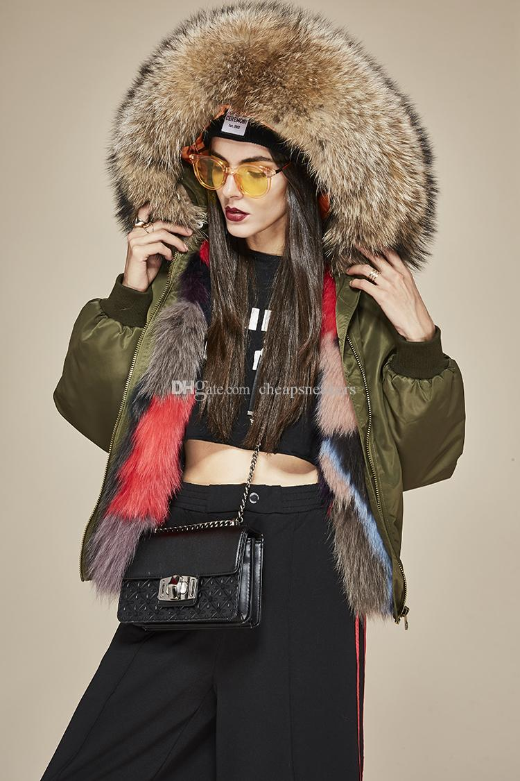 bd8a86ef4fb6 2019 Fox Fur Liner And Detachable Raccoon Fur Trim Hooded Coat Women S  Pilot Bomber Jacket Warm Furs Coat From Cheapsneakers