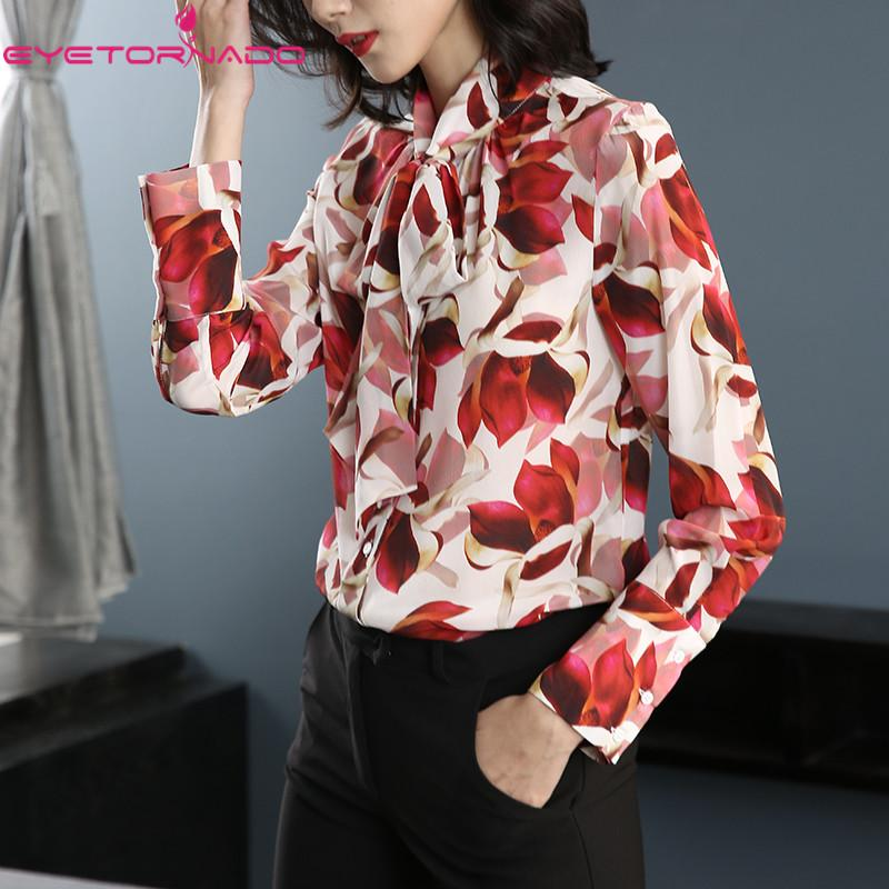 2e5bde41ddb5d 2019 Women Silk Shirt Bow Floral Print Silk Blouse Top Casual Work Office  Shirts Long Sleeve Summer Blouse E7938 From Tayler