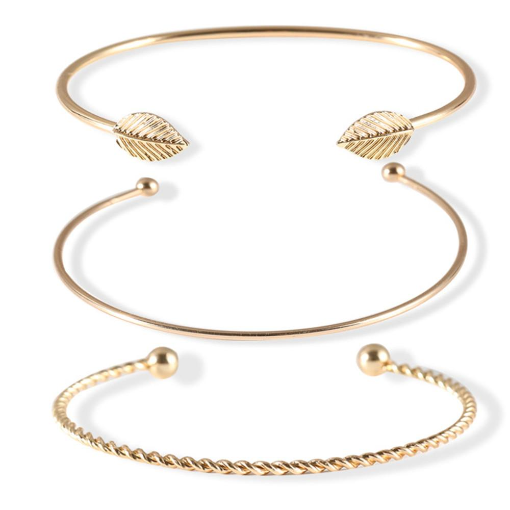 fe3d6a039 2018 Europe And America Fashion Gold Bracelet For Women Simple Personality  Leaves Three Pieces Of Open Bracelet Jewelry White Gold Diamond Bangle  Bracelet ...
