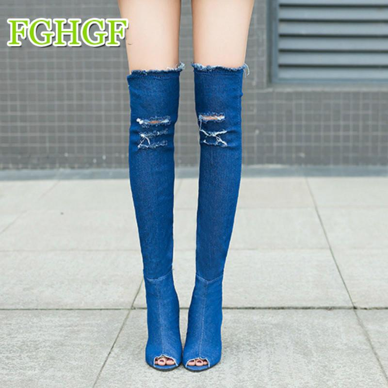 89592f5f3660 2018 Women Boots Sexy High Heels Autumn Peep Toe Over The Knee Boots  Quality Tight High Jeans Fashion Plus Size 35 41 Cute Shoes Boots From  Potatoo, ...