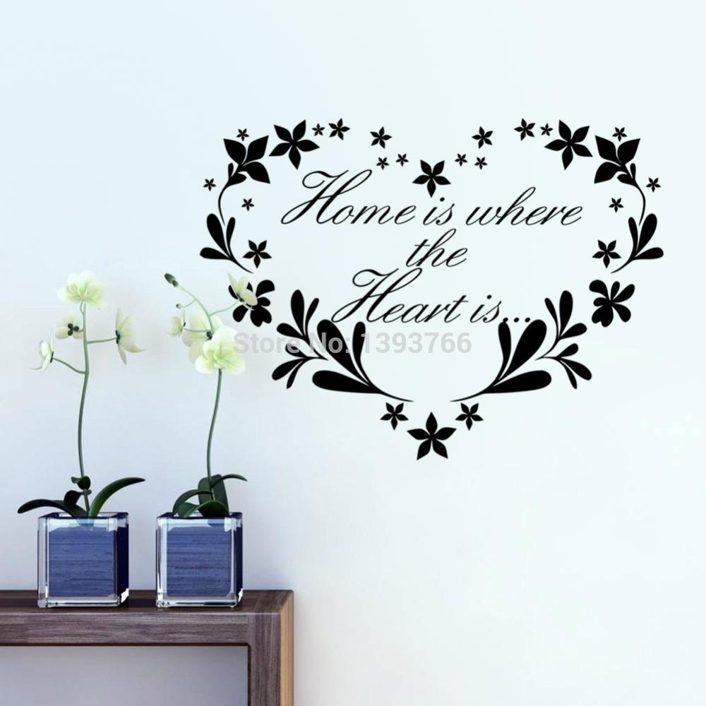 Home is where Heart is home decor creative quote wall decals flower heart removable vinyl wall stickers wallpaper wall art