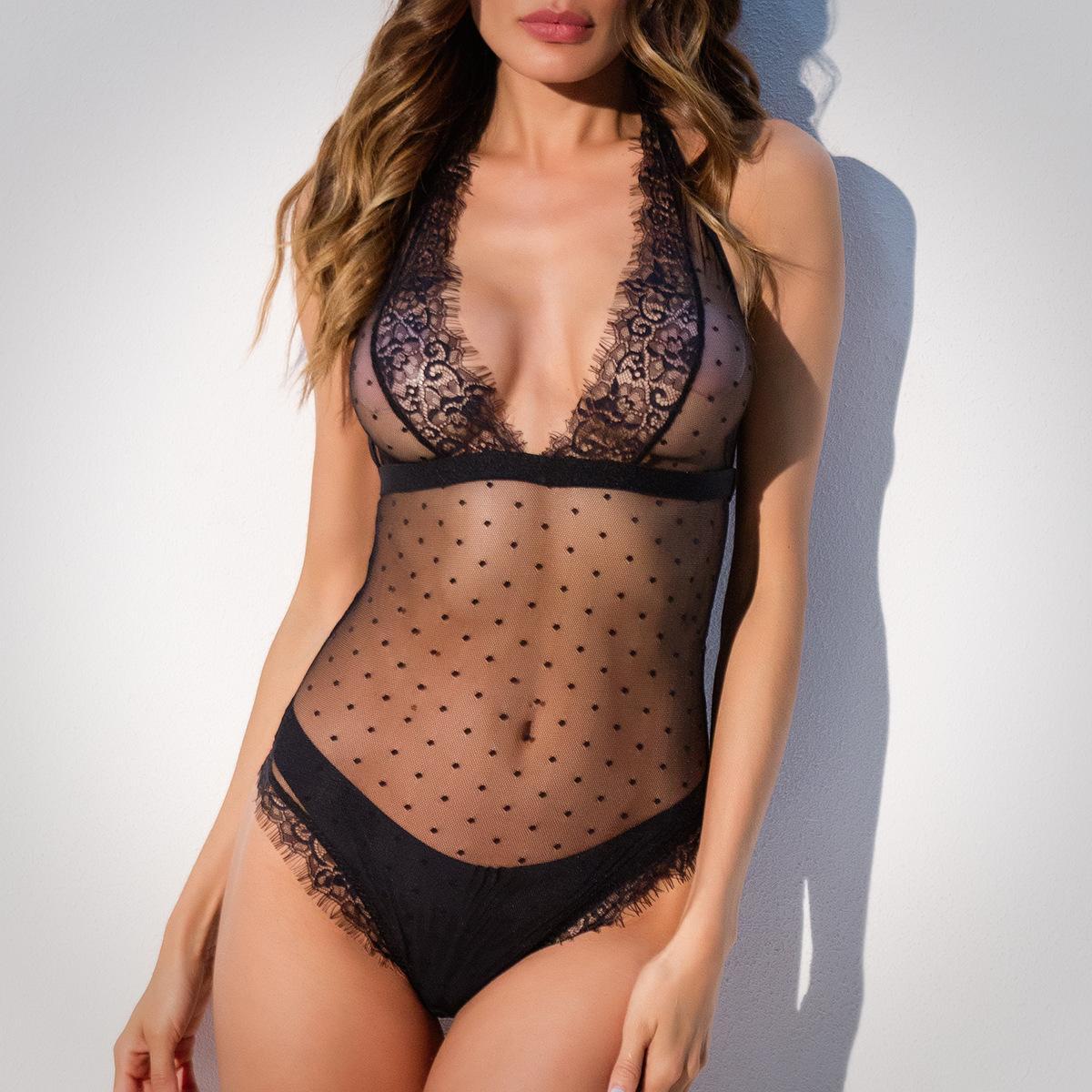 9ff4152ee1ad Hot Sale Women Temptation Dot Sexy Lingerie Leotard Perspective Black Deep  V Lace Erotic Lingerie Underwear Silk Nightdresses Silk Pajamas Women From  ...